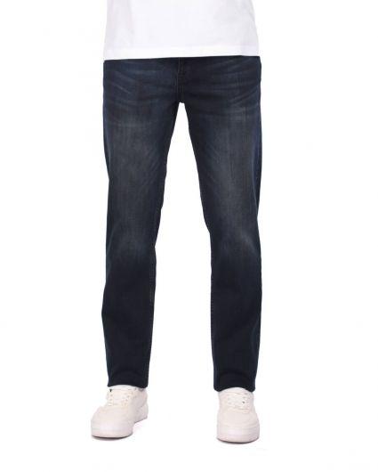 بنطلون جينز كاجوال أزرق كحلي للرجال - Thumbnail