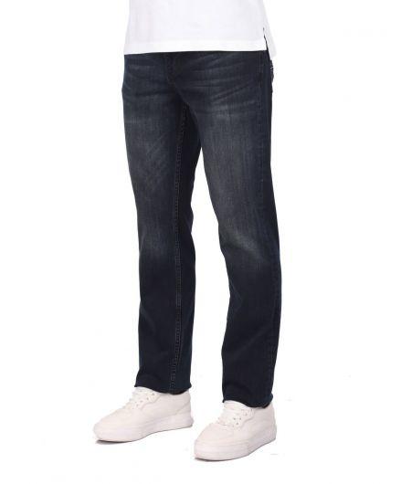 LAST PLAYER - بنطلون جينز كاجوال أزرق كحلي للرجال (1)