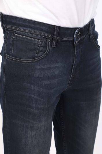 Мужские повседневные джинсовые брюки темно-синего цвета - Thumbnail