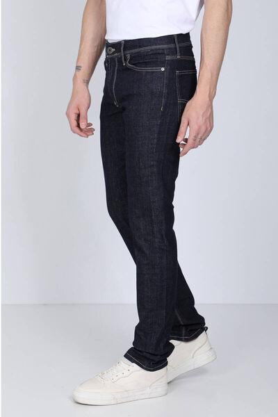 BLUE WHITE - بنطلون جينز رجالي أزرق داكن مخيط متباين (1)