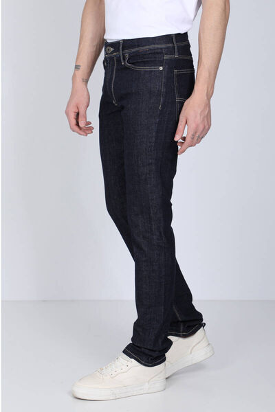BLUE WHITE - Men's Navy Blue Contrast Stitching Jean Trousers (1)