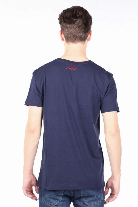 Мужская футболка с круглым вырезом с принтом темно-синего цвета Couture