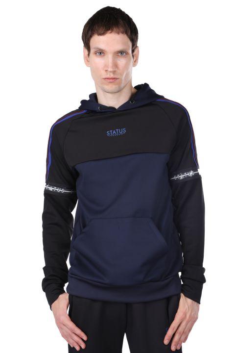 Men's Navy Blue Piece Hooded Sweatshirt