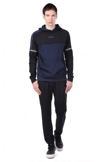 Men's Navy Blue Piece Hooded Sweatshirt - Thumbnail