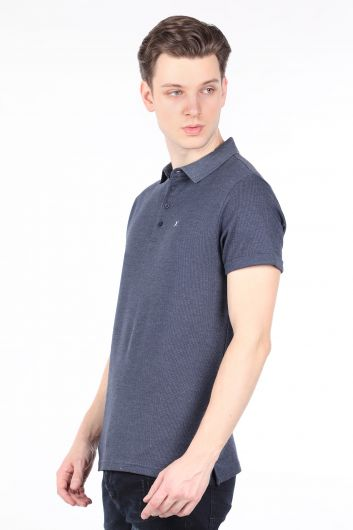 BLUE WHITE - Men's Navy Polo Neck T-shirt (1)