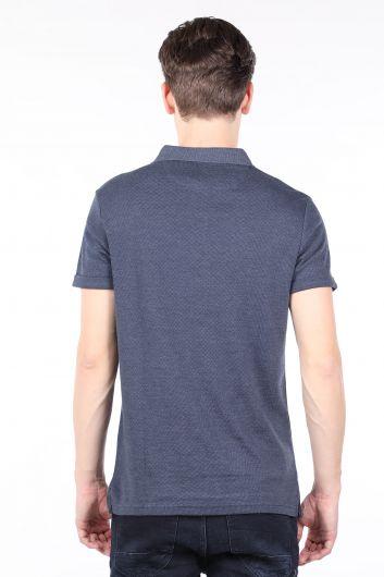 Men's Navy Polo Neck T-shirt - Thumbnail