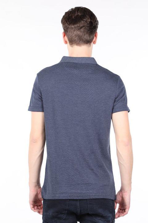 Men's Navy Polo Neck T-shirt