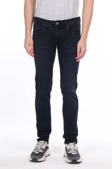 Men's Navy Blue Regular Fit Jean Trousers