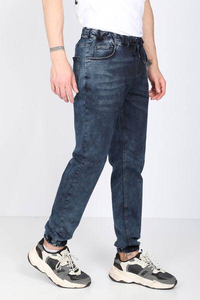 BLUE WHITE - Men's Navy Blue Waist Drawstring Jogger Trousers (1)