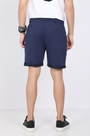 Мужские темно-синие базовые шорты из тканого материала - Thumbnail