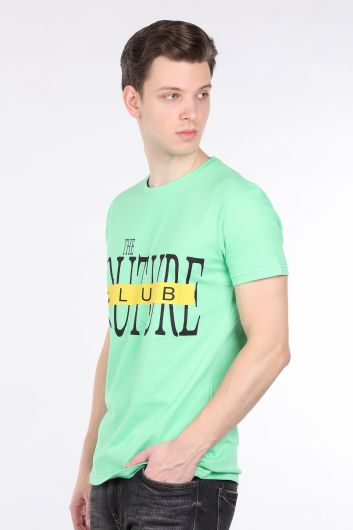 COUTURE - Men's Neon Green Couture Printed Crew Neck T-shirt (1)