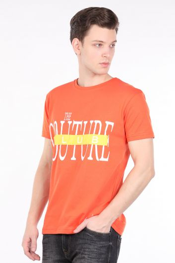 Men's Orange Couture Printed Crew Neck T-shirt - Thumbnail