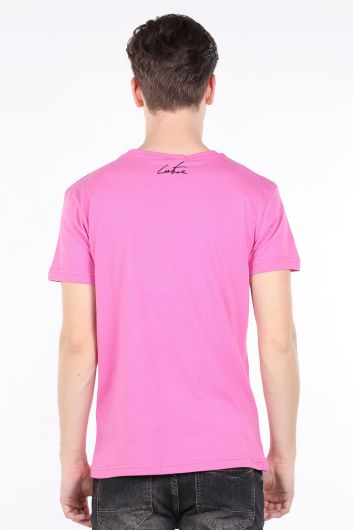 Men's Pink Couture Printed Crew Neck T-shirt - Thumbnail