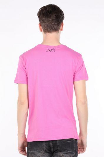 Мужская футболка с круглым вырезом и принтом Pink Couture - Thumbnail