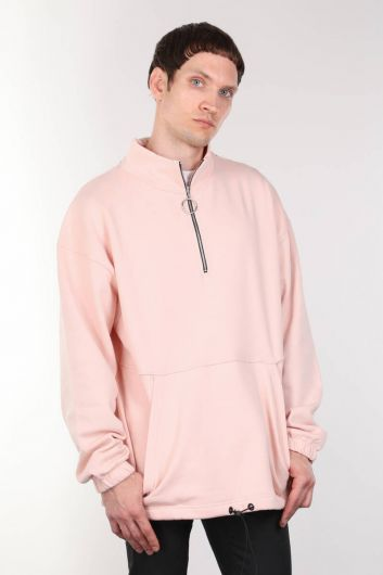 Мужская розовая толстовка с приподнятым карманом на молнии - Thumbnail