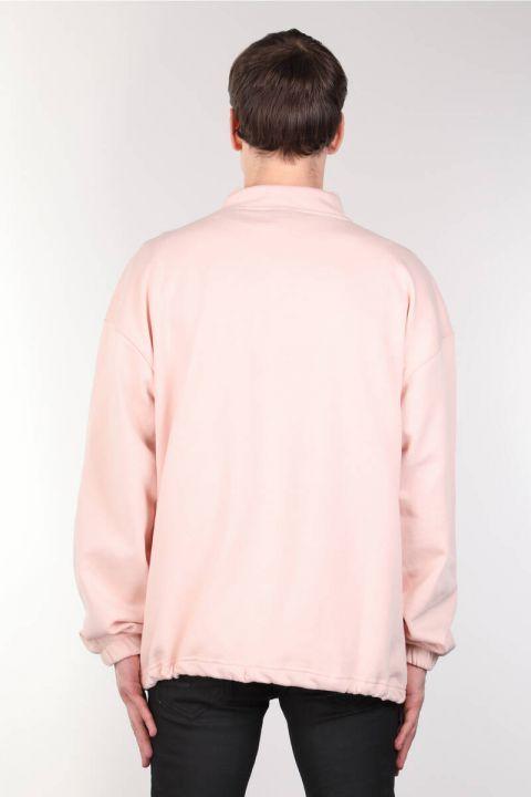 Мужская розовая толстовка с приподнятым карманом на молнии
