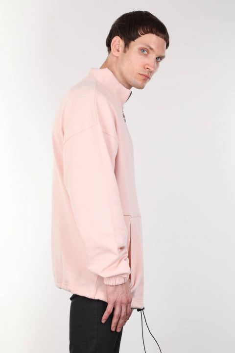 Men's Pink Raised Zipper Pocket Sweatshirt