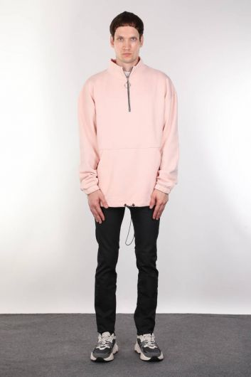 Men's Pink Raised Zipper Pocket Sweatshirt - Thumbnail