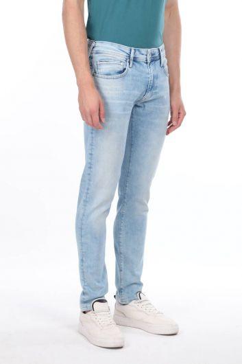 Men's Piping Low Waist Jean Trousers - Thumbnail