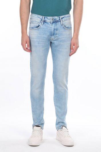 Мужские джинсовые брюки с заниженной талией - Thumbnail