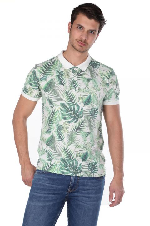 Men's Green Leaf Polo Neck T-Shirt
