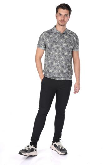 Мужская футболка с воротником-поло с цветочным узором - Thumbnail