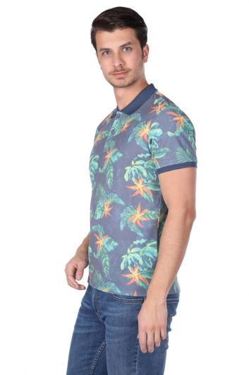 MARKAPIA - Men's Leaf Pattern Polo Neck T-Shirt (1)