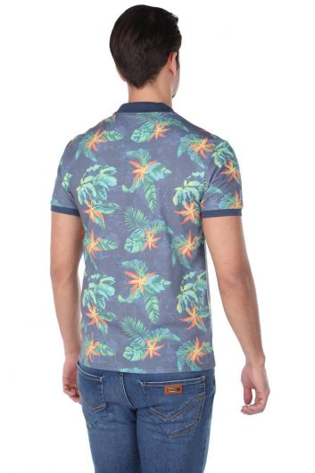 Men's Leaf Pattern Polo Neck T-Shirt - Thumbnail
