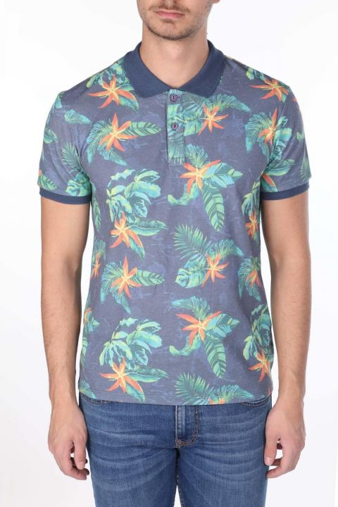 Men's Leaf Pattern Polo Neck T-Shirt