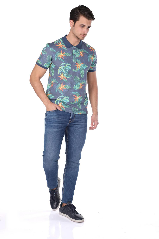 Мужская футболка с воротником-поло с узором в виде листьев