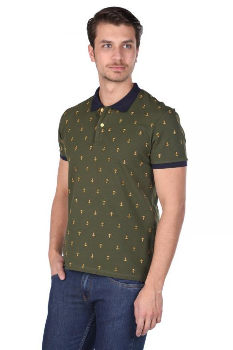 Men's Patterned Polo Neck T-Shirt