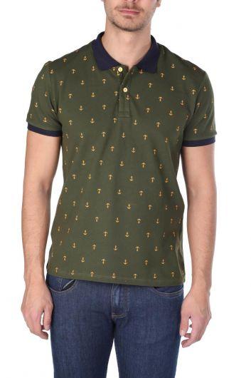 Men's Patterned Polo Neck T-Shirt - Thumbnail
