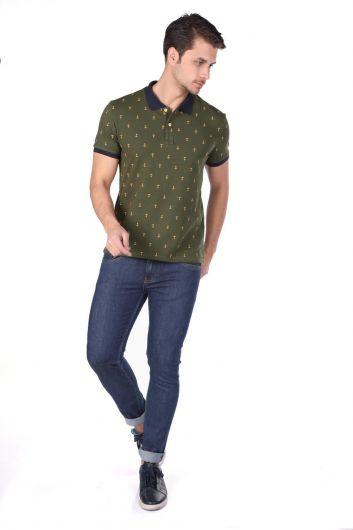 Мужская футболка с воротником-поло с рисунком - Thumbnail