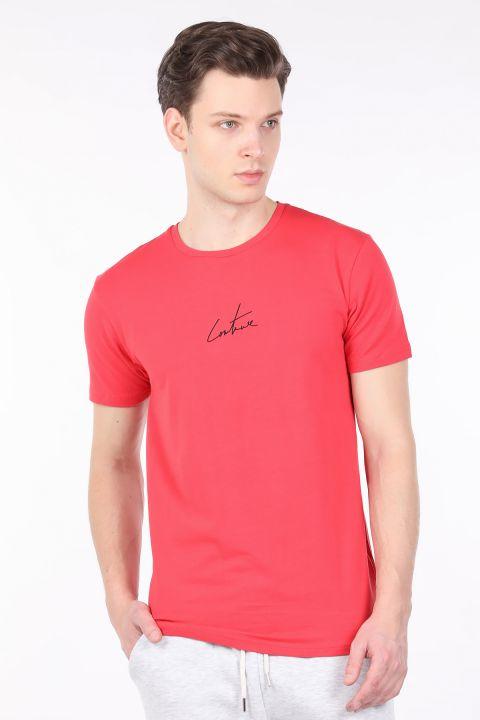 Men's Pomegranate Flower Printed Back Crew Neck T-shirt