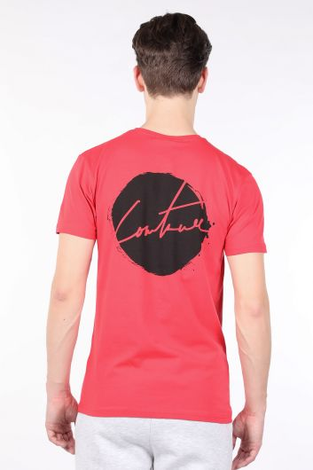Men's Pomegranate Flower Printed Back Crew Neck T-shirt - Thumbnail