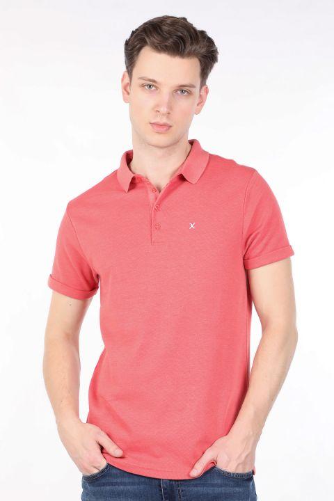 Men's Pomegranate Flower Polo Neck T-shirt