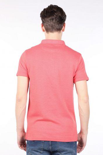 Men's Pomegranate Flower Polo Neck T-shirt - Thumbnail