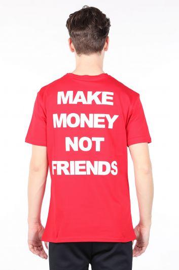 Мужская красная футболка с круглым вырезом и принтом на спине - Thumbnail