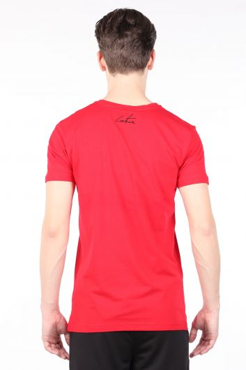 Men's Red Couture Printed Crew Neck T-shirt - Thumbnail