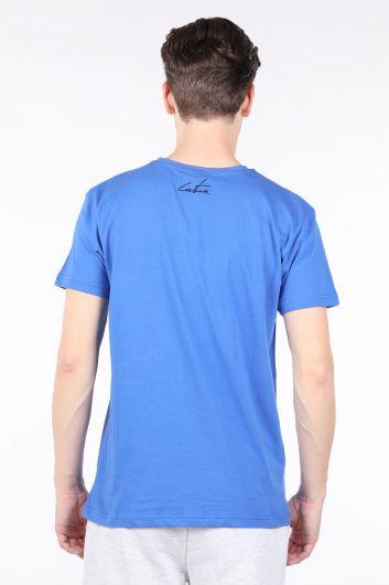Мужская футболка с круглым вырезом и принтом Saxe Blue Couture - Thumbnail
