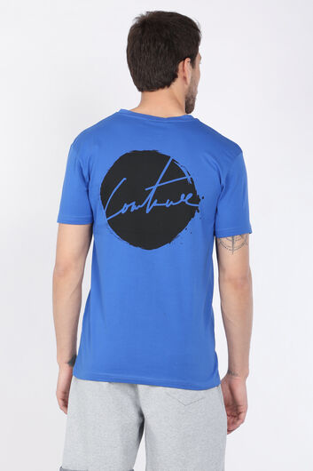 COUTURE - Men's Saxe Blue Printed Bicycle Collar Men's T-shirt (1)