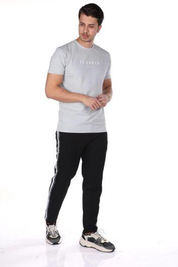 Мужские прямые спортивные брюки с полосками по бокам - Thumbnail