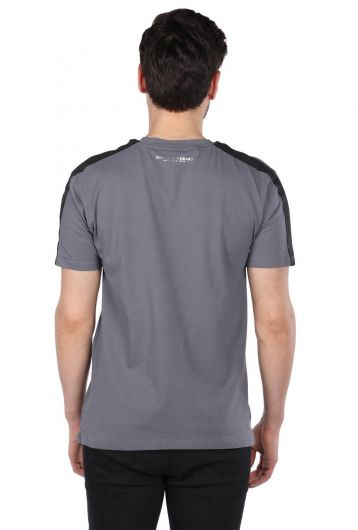 Smoked Men Crew Neck T-Shirt With Rigged Detail - Thumbnail