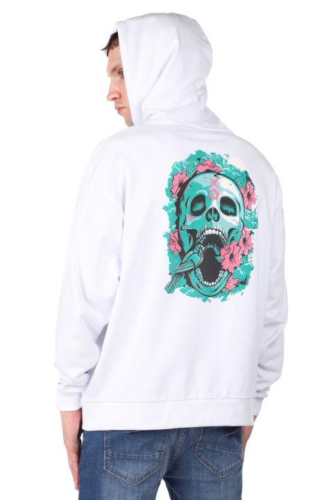 Men's Hooded Sweatshirt with Skull Print on the Back