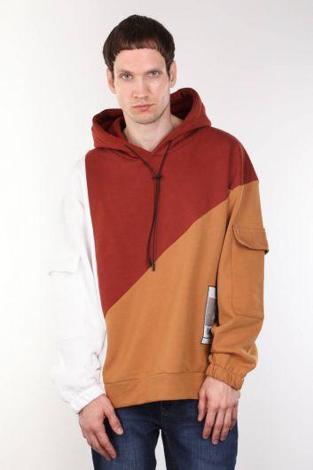 Men's Tile Piece Hooded Oversize Sweatshirt - Thumbnail