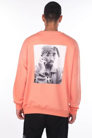 MARKAPIA MAN - Men's Tupac Printed Orange Crew Neck Sweatshirt (1)
