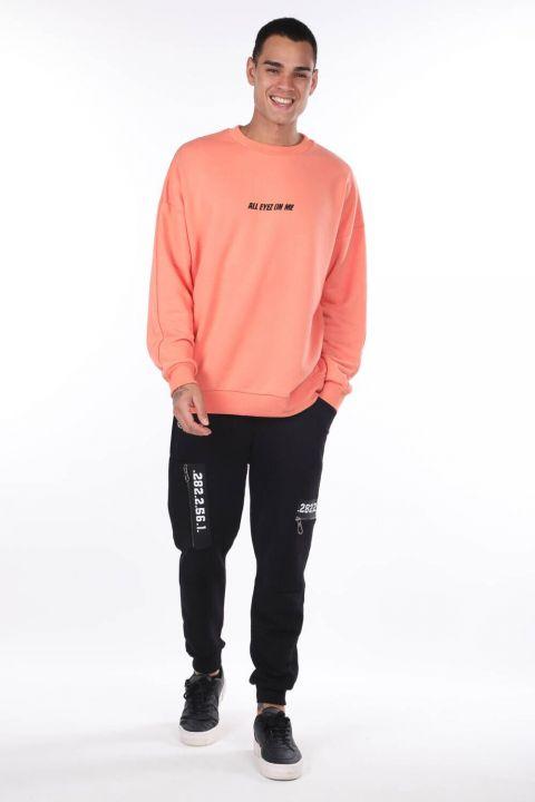 Оранжевый мужской свитшот с круглым вырезом и принтом Tupac