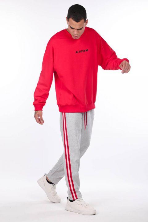 Men's Tupac Printed Red Crew Neck Sweatshirt