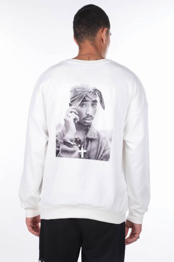 MARKAPIA MAN - Men's Tupac Printed White Crew Neck Sweatshirt (1)