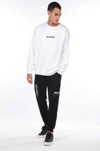 Men's Tupac Printed White Crew Neck Sweatshirt - Thumbnail